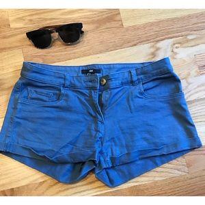 H&M blue stretch denim shorts